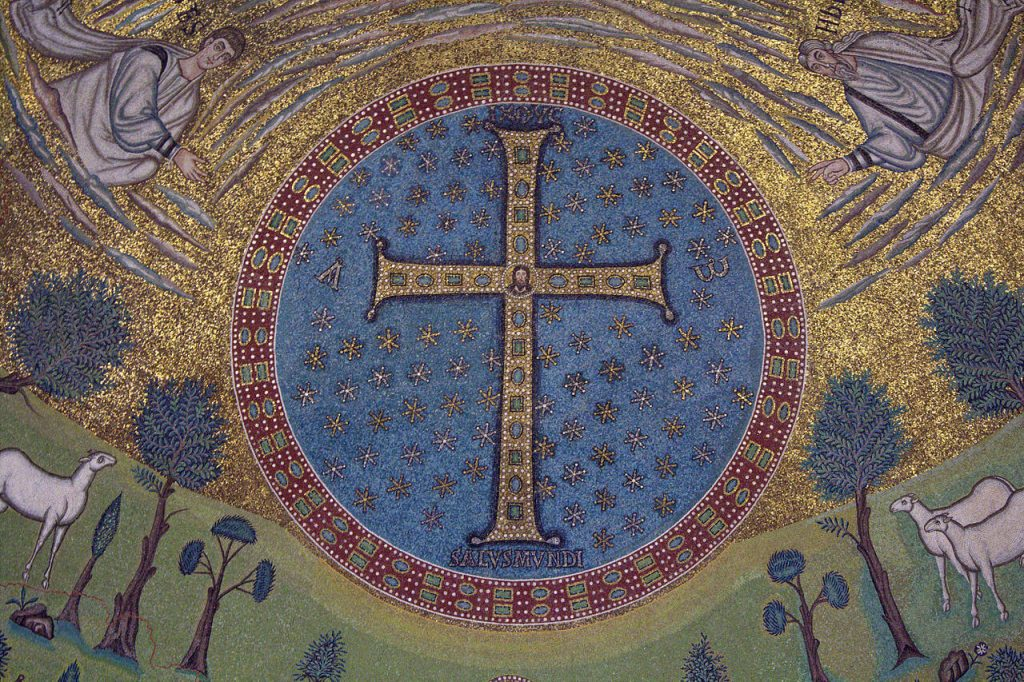 Medieval Mosaics, Mosaic in the apse of Sant'Apollinare in Classe, 6th century CE, Ravenna, Italy. Wikipedia Commons.