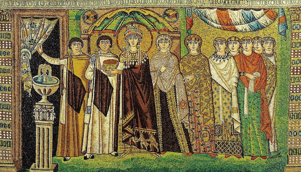 Mosaic of the Byzantine Empress in Basilica of San Vitale, 526/7-547 CE, Ravenna, Italy. Wikipedia Commons.