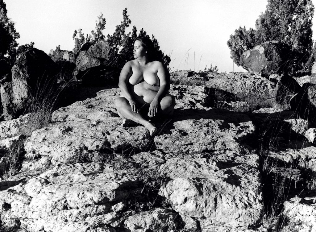 Body in the Art: Laura Aguilar, Nature Self-Portrait #11, 1996, gelatin silver print, courtesy of the Laura Aguilar Trust of 2016 and the UCLA Chicano Studies Research Center.