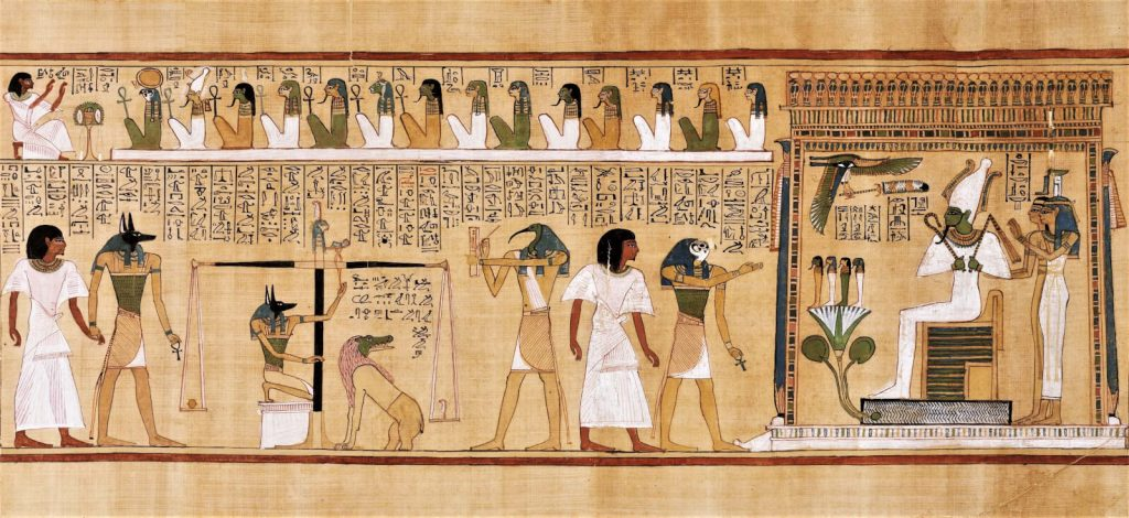 Judgement Scene from Book of the Dead of Hunefer, New Kingdom, Dynasty 19, ca 1290-80 BCE, British Museum, London, UK.