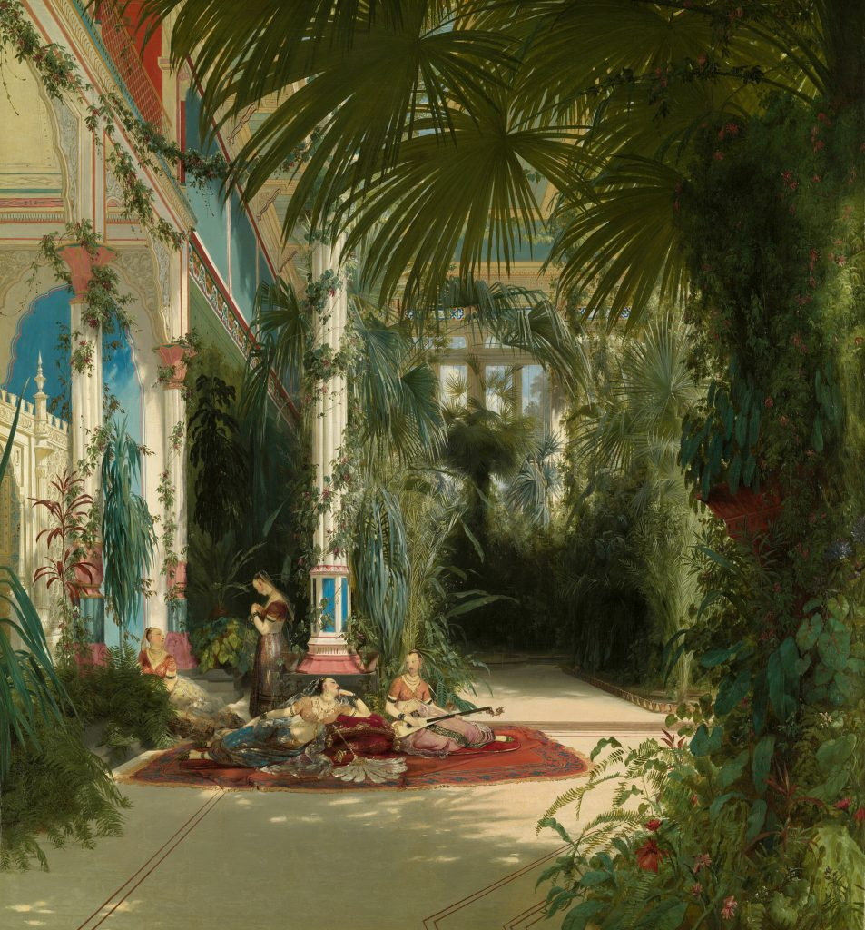 Paintings of exquisite palace interiors: Carl Blechen, The Interior of the Palm House on the Pfaueninsel Near Potsdam, ca. 1834, Art Institute of Chicago, Chicago, IL, USA.