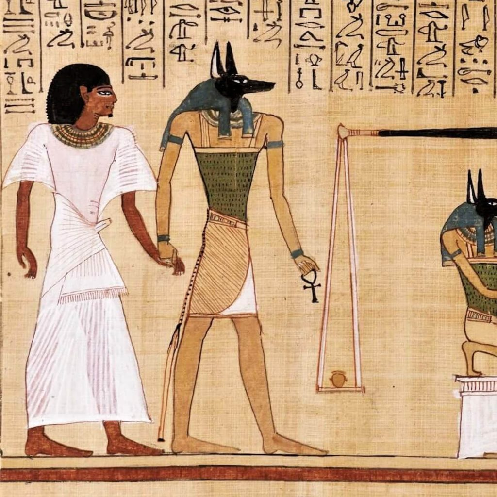 Judgement Scene from Book of the Dead of Hunefer, New Kingdom, Dynasty 19, ca 1290-80 BCE, British Museum, London, UK. Enlarged Detail of Anubis.