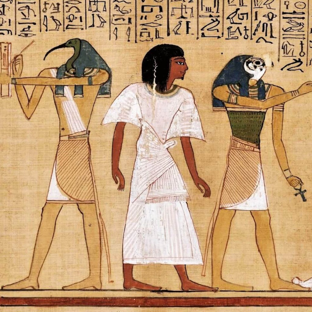 Judgement Scene from Book of the Dead of Hunefer, New Kingdom, Dynasty 19, ca 1290-80 BCE, British Museum, London, UK. Enlarged Detail of Thoth and Horus.