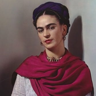 """Enneagram artists: Frida Kahlo with Magenta Rebozo """"Classic,"""" 1939, Photograph by Nickolas Muray."""