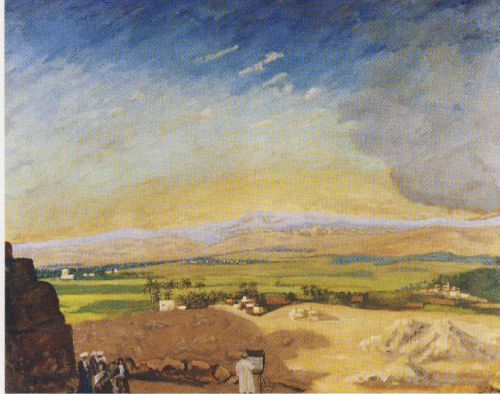 Winston Churchill's Landscape Painting: Winston Churchill, Cairo from the Pyramids with the Artist Painting, 1921, National Trust, Chartwell, Westerham, England, UK