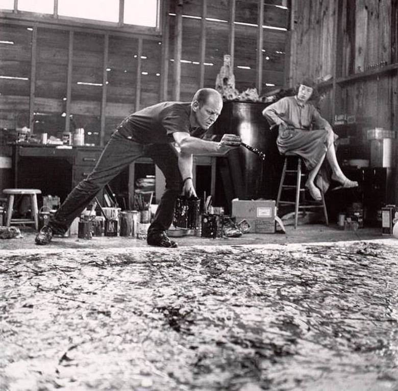 Abstract Expressionism 101. Jackson Pollock paints One and Lee Krasner observes, 1950. Photographed by Hans Namuth.