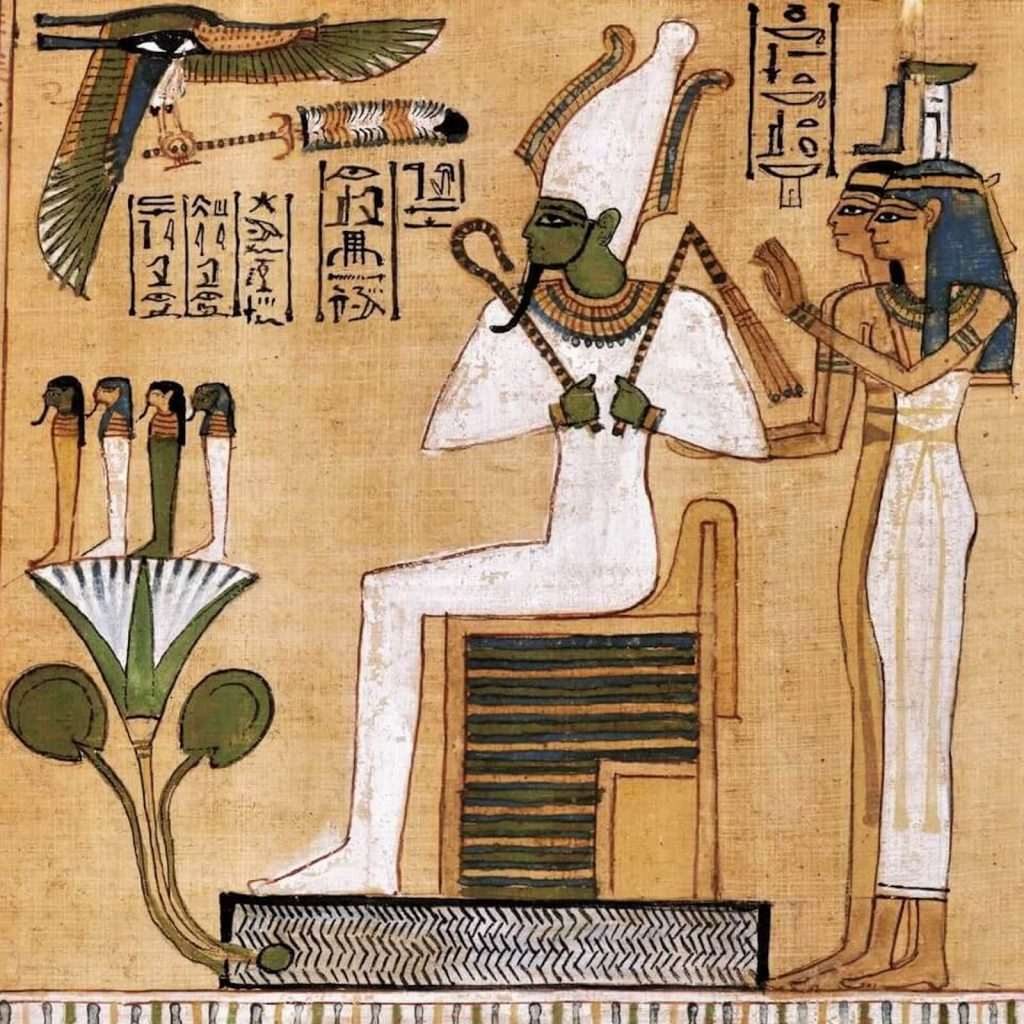 Judgement Scene from Book of the Dead of Hunefer, New Kingdom, Dynasty 19, ca 1290-80 BCE, British Museum, London, UK. Enlarged Detail of Osiris.