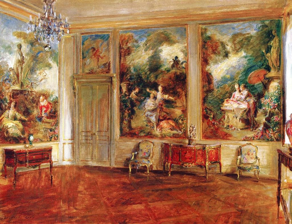 Paintings of exquisite palace interiors: Walter Gay, The Fragonard Room, ca. 1926, The Frick Pittsburgh, Pittsburgh, PA, USA.