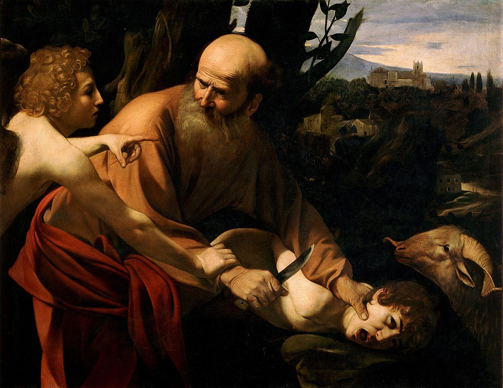 Parenting in art: Caravaggio, Sacrifice of Isaac, 1603, Uffizi Gallery, Florence, Italy.