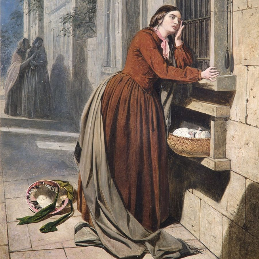 Parenting in art: Henry Nelson O'Neil, A Mother Depositing Her Child at the Foundling Hospital in Paris, 1855, Foundling Museum, London, UK.
