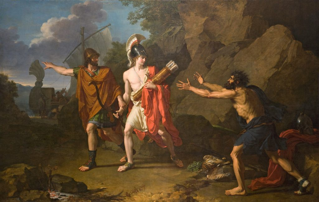 François Xavier Fabre, Odysseus and Neoptolemus take Heracles' bow and arrows from Philoctetes, 1800, Musée Fabre, Montpellier, France.