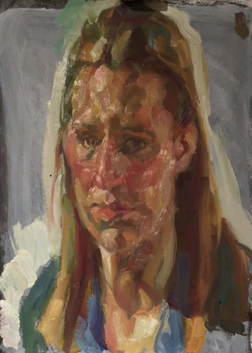 Mall Galleries: Portrait of Mall Galleries' head of exhibitions and events, Amy Huntington, painted by Andrew James