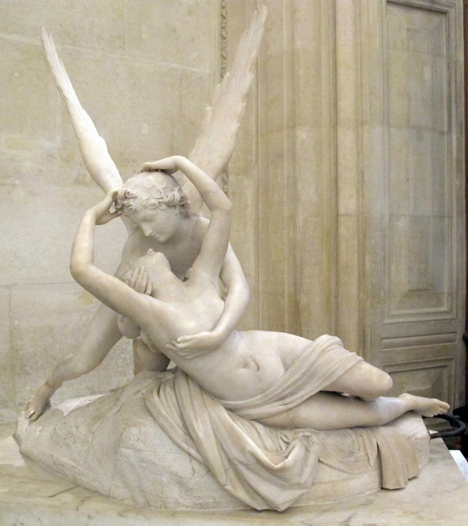 Mythical love stories: Antonio Canova, Psyche Revived by Cupid's Kiss, 1793, Louvre, Paris, France.
