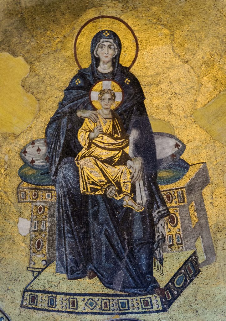Mosaic of the Virgin and Child in the apse of Hagia Sophia, c. 867 CE, Istanbul, Turkey. Wikipedia Commons.