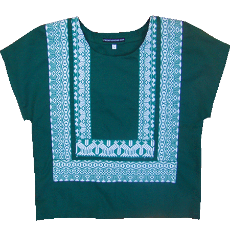 Tehuantepec Mexican Huipil Blouse, Frida Kahlo's style
