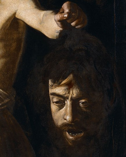 Enneagram artists: Caravaggio, David with Goliath's Head, 1606, detail, Borghese Gallery, Rome, Italy.
