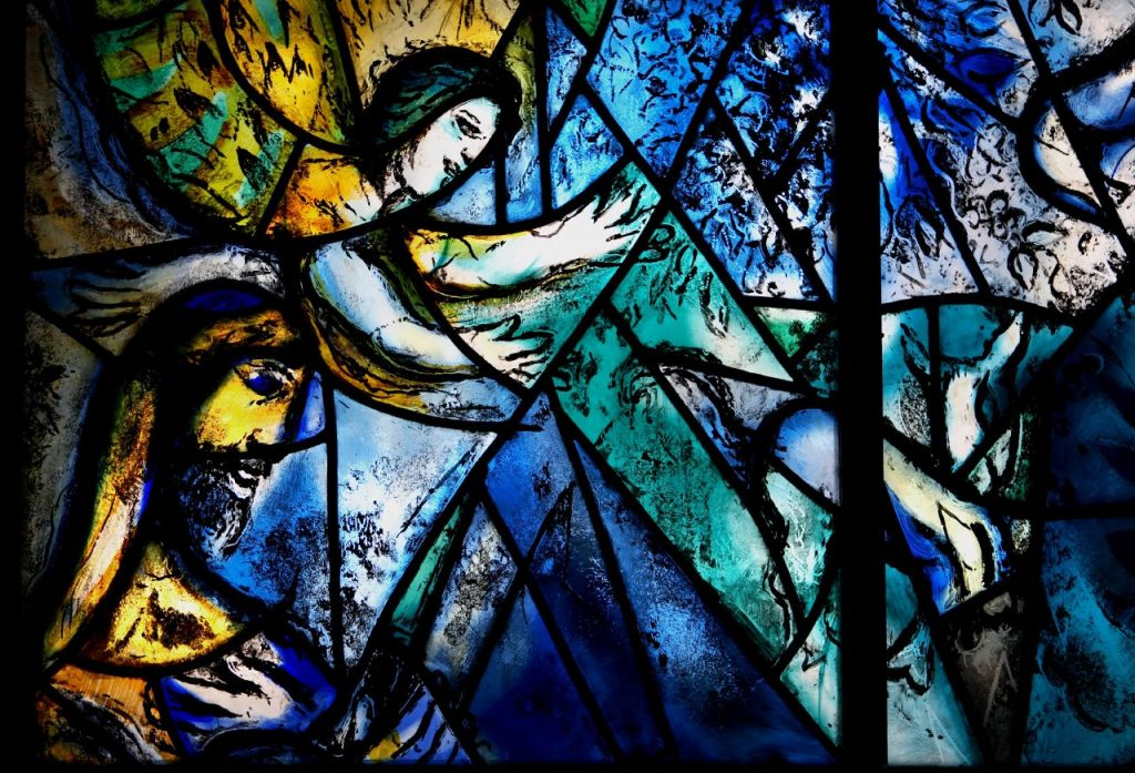 Enneagram artists: Marc Chagall, Peace, 1964, stained glass window, detail, United Nations, New York, US.