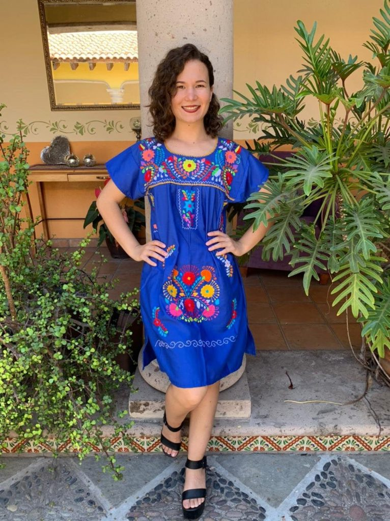 Hand-embroidered Mexican dress, Frida Kahlo's style