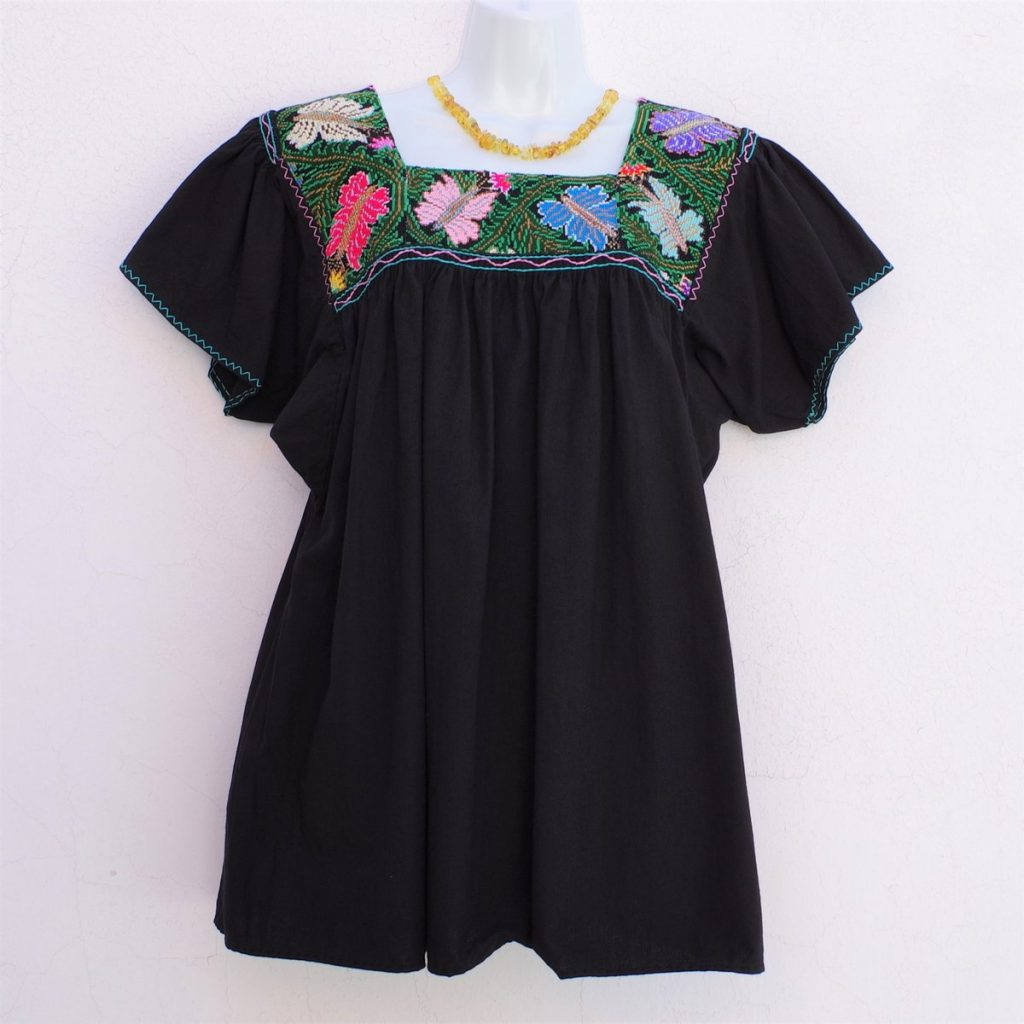 Black Mexican Huipil Vintage Blouse with Multi color Hand Embroidery from Chiapas, Frida Kahlo's style
