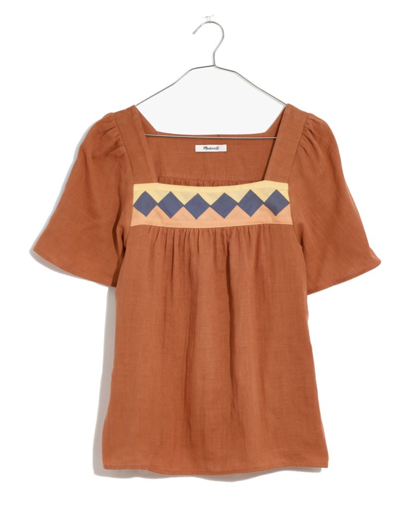 Women's Patchwork Square Neck Top, Frida Kahlo's style
