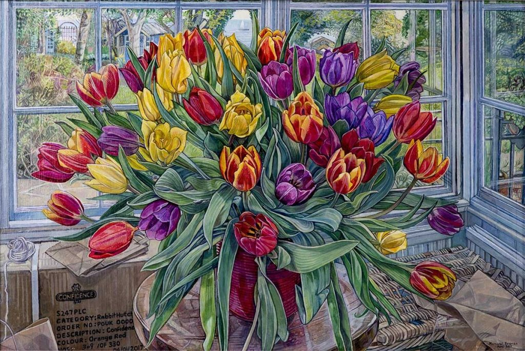 Mall Galleries: Margaret Foreman's prize winner painting Seaside Festival Tulips at Mall Galleries' annual exhibition of Royal Society of British Painters
