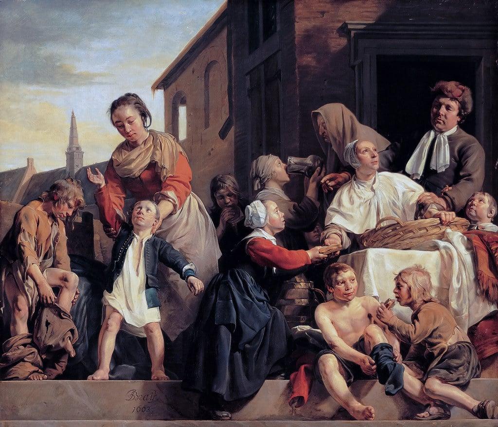 Parenting in art: Jan de Bray, Caring for Orphans, 1663, Frans Hals Museum, Haarlem, Netherlands.