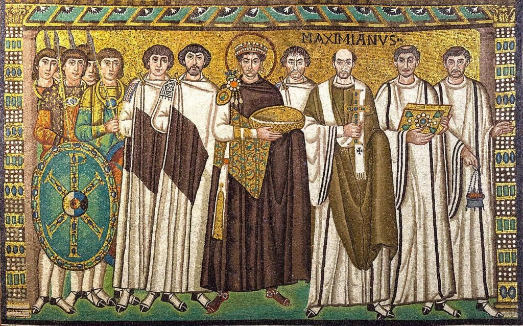 Mosaic of the Byzantine Emperor Justinian at San Vitale, 526/7-547 CE, Ravenna, Italy. Wikipedia Commons.
