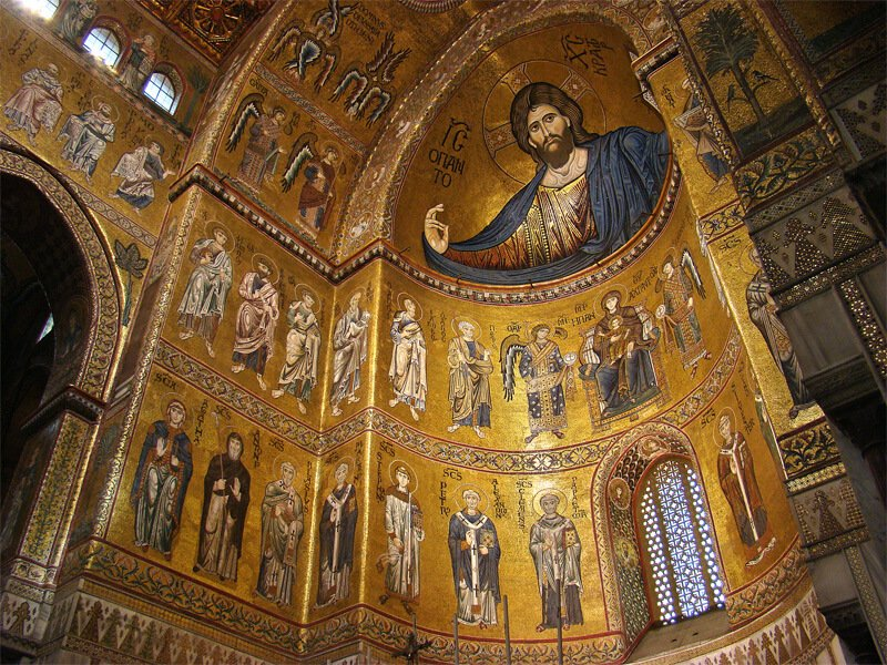 Mosaics in the apse of Monreale Cathedral, begun 1174 CE, Monreale, Sicily, Italy. Wikipedia Commons.