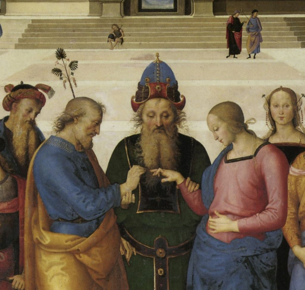 The Marriage of the Virgin. Perugino, detail from The Marriage of the Virgin, 1501-1504, Musée des Beaux-Arts, Caen,France. Detail.