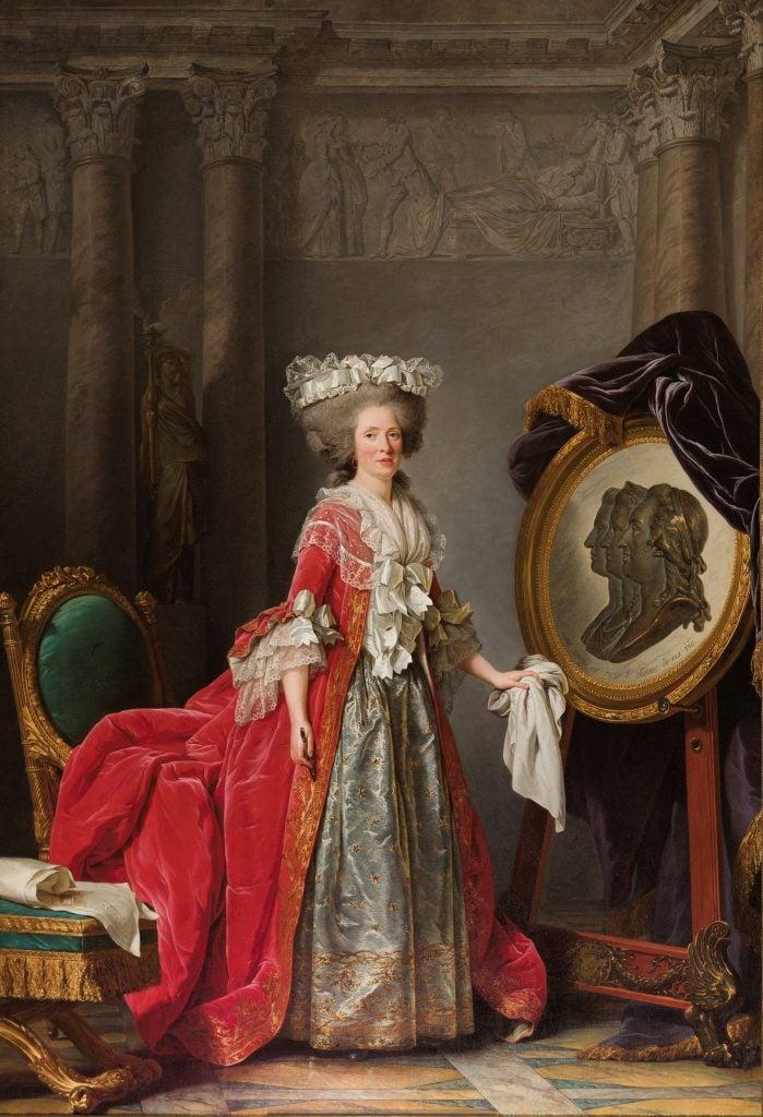 female court painter, Adélaïde Labille-Guiard, Portrait of Madame Adelaide, 1787, Palace of Versailles, Paris, France.