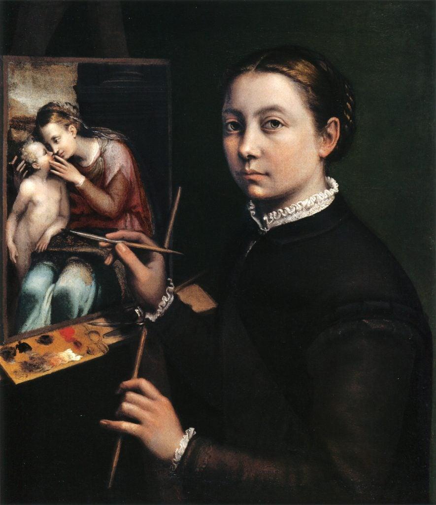 female court painters, Sofonisba Anguissola, Self Portrait, 1556, Castle Museum in Łańcut, Łańcut, Poland.