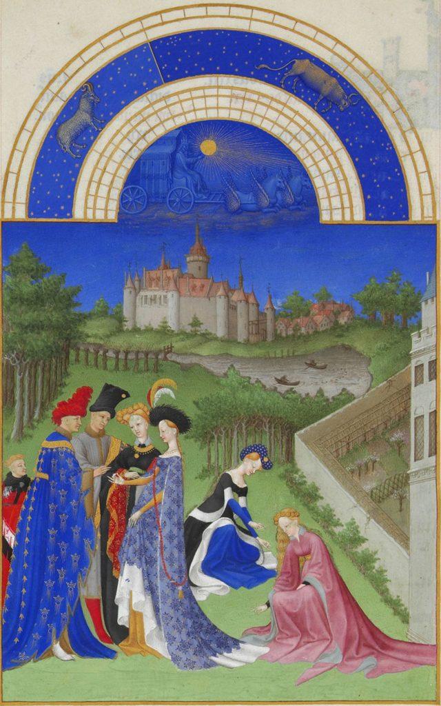Herman, Paul and Jean de Limbourg, Très Riches Heures du Duc de Berry, April, 1412-1489, Musée Condé, Chantilly, France