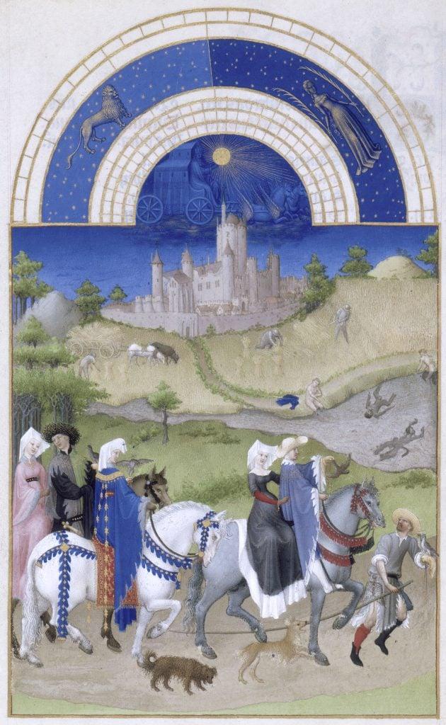 Herman, Paul and Jean de Limbourg, Très Riches Heures du Duc de Berry, August, 1412-1489, Musée Condé, Chantilly, France