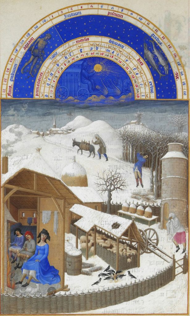 Herman, Paul and Jean de Limbourg, Très Riches Heures du Duc de Berry, February, 1412-1489, Musée Condé, Chantilly, France