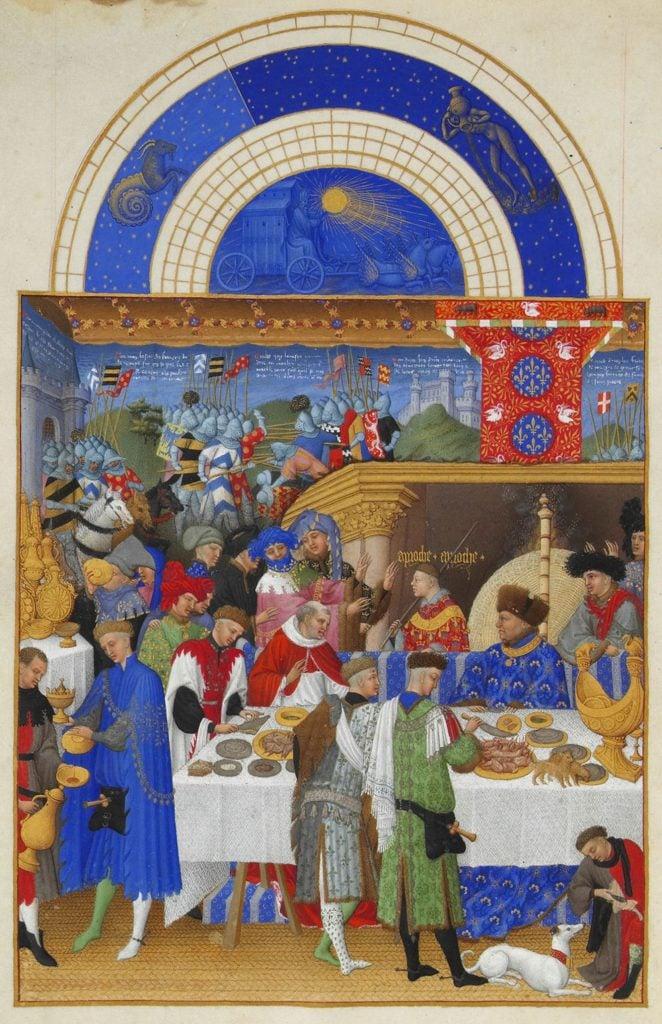Herman, Paul and Jean de Limbourg, Très Riches Heures du Duc de Berry, January, 1412-1489, Musée Condé, Chantilly, France