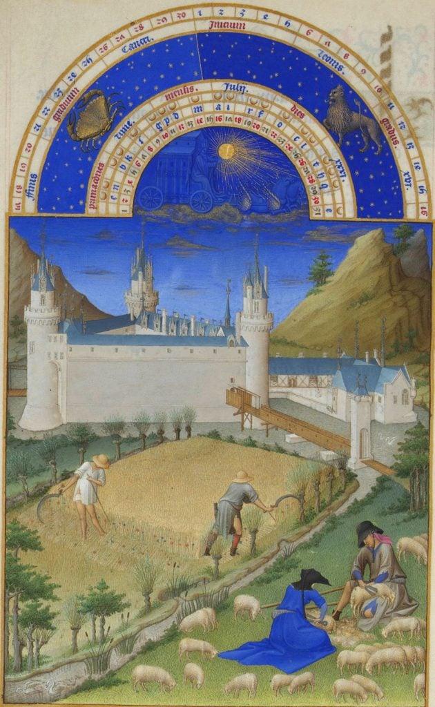Herman, Paul and Jean de Limbourg, Très Riches Heures du Duc de Berry, July, 1412-1489, Musée Condé, Chantilly, France