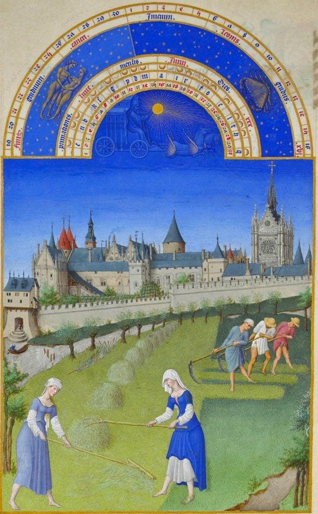 Herman, Paul and Jean de Limbourg, Très Riches Heures du Duc de Berry, June, 1412-1489, Musée Condé, Chantilly, France