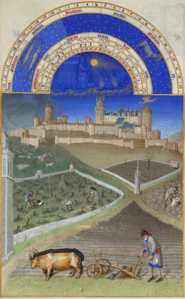 Herman, Paul and Jean de Limbourg, Très Riches Heures du Duc de Berry, March, 1412-1489, Musée Condé, Chantilly, France