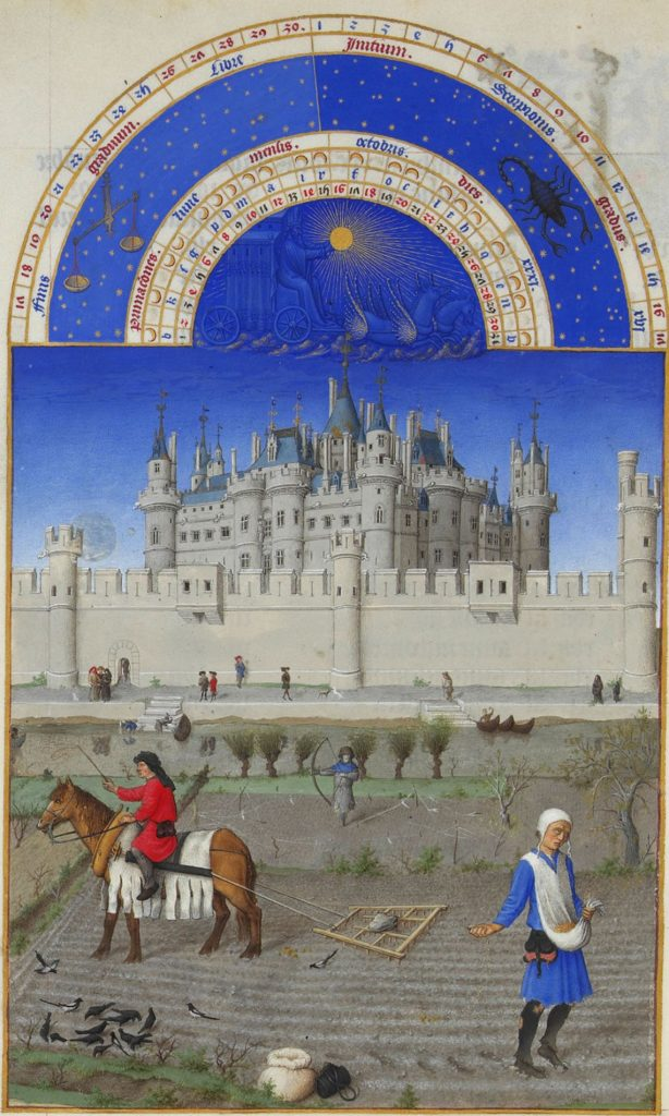 Herman, Paul and Jean de Limbourg, Très Riches Heures du Duc de Berry, October, 1412-1489, Musée Condé, Chantilly, France