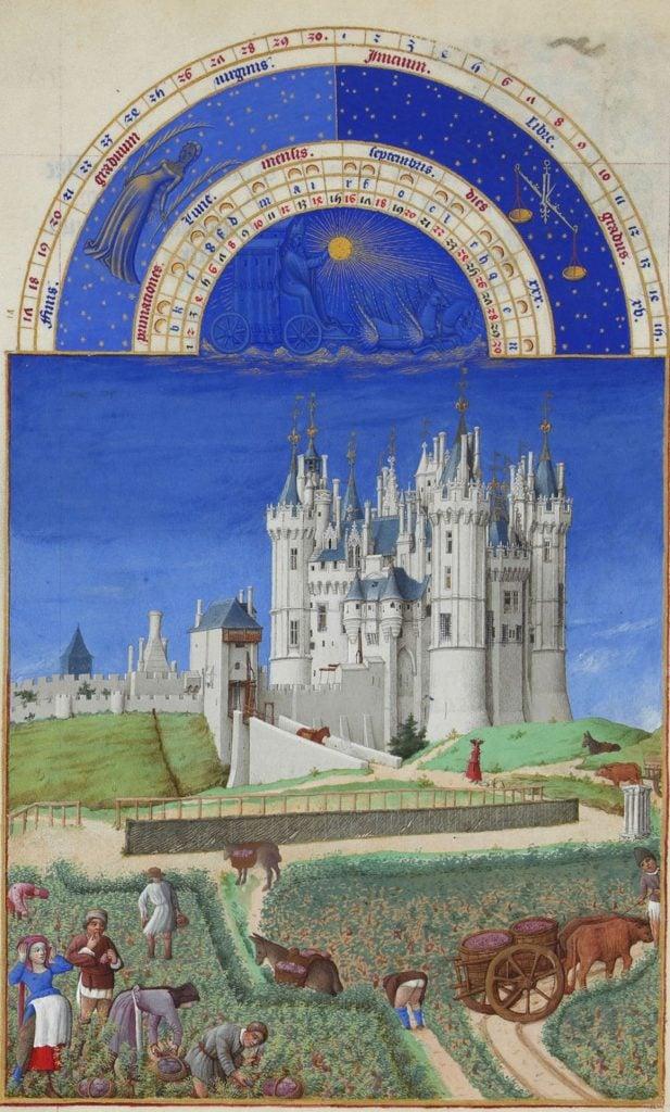Herman, Paul and Jean de Limbourg, Très Riches Heures du Duc de Berry, September, 1412-1489, Musée Condé, Chantilly, France