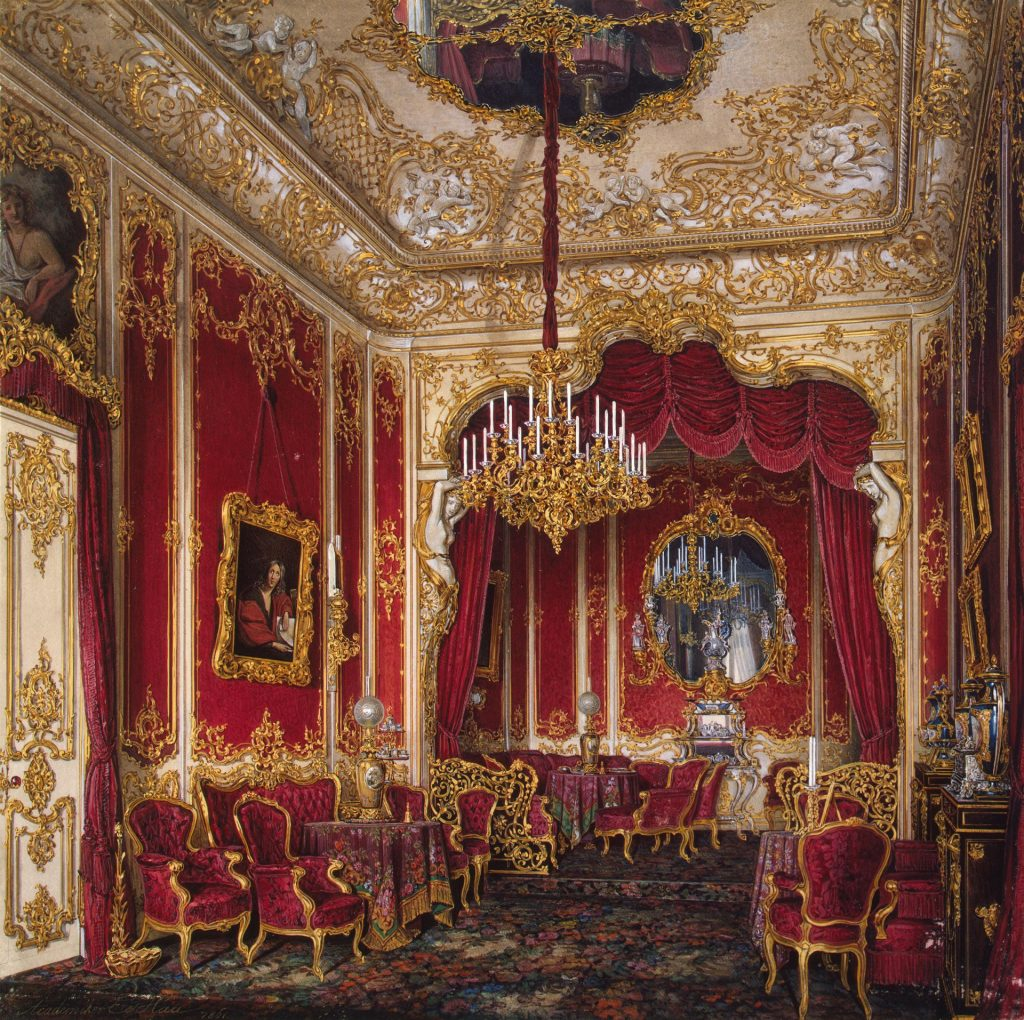Paintings of exquisite palace interiors: Eduard Hau, Interiors of the Winter Palace, The Boudoir of Empress Maria Alexandrovna, ca. 1861, The State Hermitage Museum, St Petersburg, Russia.