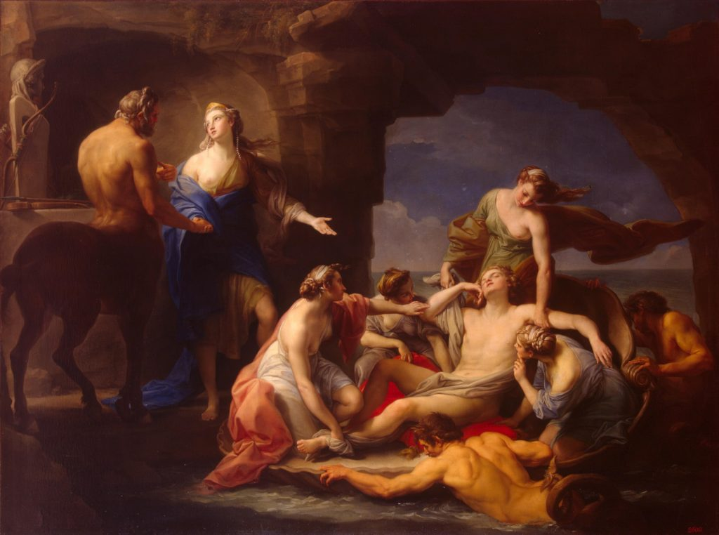 Parenting in art:Pompeo Girolamo Batoni, Thetis takes Achilles from the Centaur Chiron, 1768, Hermitage Museum, St Petersburgh, Russia.