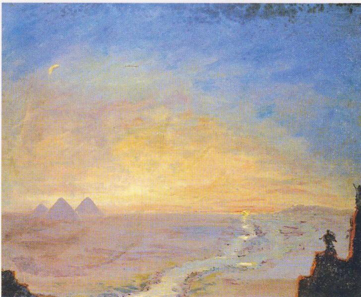 Winston Churchill's Landscape Painting: Winston Churchill, Distant View of the Pyramids, 1920, National Trust, Chartwell, Westerham, England, UK.