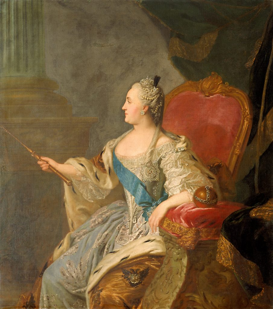 Catherine the Great portraits. Fyodor Rokotov, Portrait of Empress Catherine the Great, 1763, Tretyakov Gallery, Moscow, Russia.