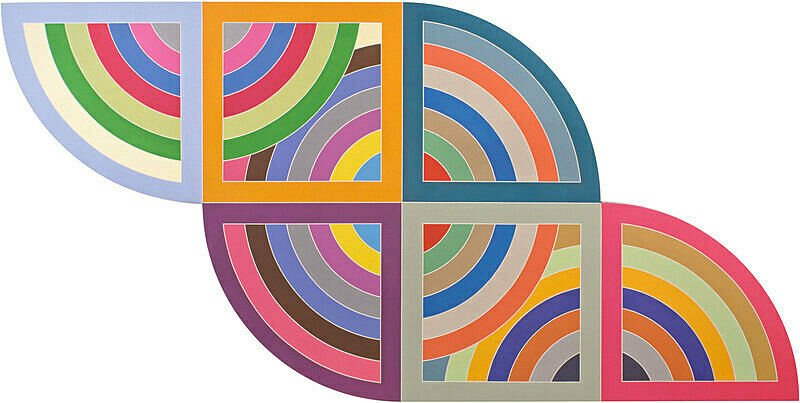 Abstract Expressionism 101. Frank Stella, Harran II, 1967, Polymer and fluorescent polymer paint on canvas. Solomon R. Guggenheim Museum, New York, USA.