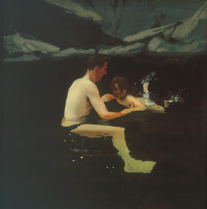 Parenting in art: Michael Andrews, Melanie and Me Swimming, 1978, Tate, London, UK.