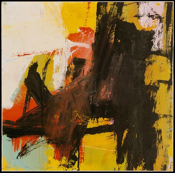 Abstract Expressionism 101. Franz Kline, Black Reflections, 1959, oil and pasted paper on paper, mounted on masonite. The Metropolitan Museum of Art, New York, USA.