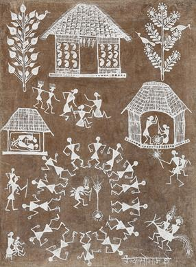 Warli painting Jivya Soma Mashe, Untitled (Warli), natural pigments and cow dung on cloth, date and location unknown