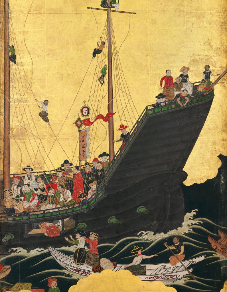 Namban: Arrival of the Europeans, ca. early 17th century, Edo period, Christie's, London, UK. Detail.