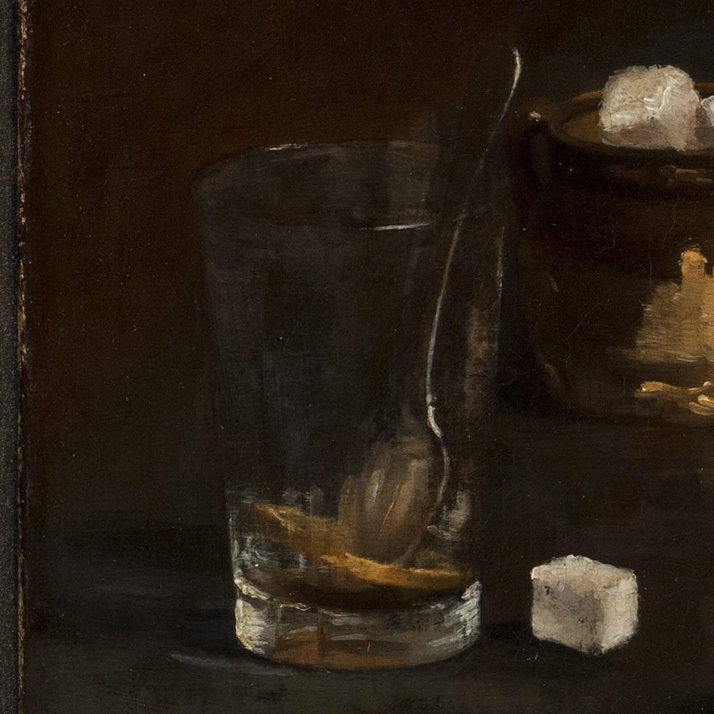 Claude Raguet Hirst, A Gentleman's Table, after 1890, National Museum of Women in the Arts, Washington DC, USA. Enlarged Detail of Absinthe.